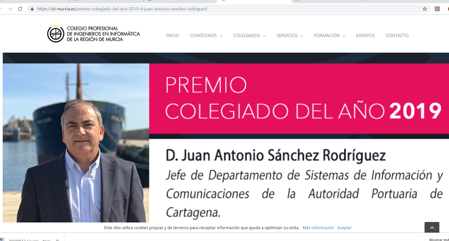 JUAN ANTONIO SÁNCHEZ ELECTED ENGINEER OF THE YEAR 2019